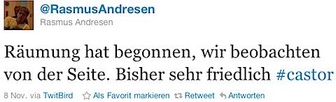 @RasmusAndresen: Räumung hat begonnen, wir beobachten von der Seite. Bisher sehr friedlich