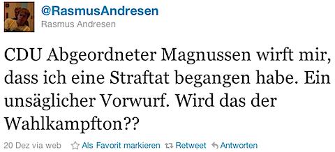 @RasmusAndresen: CDU Abgeordneter Magnussen wirft mir, dass ich eine Straftat begangen habe. Ein unsäglicher Vorwurf. Wird das der Wahlkampfton??