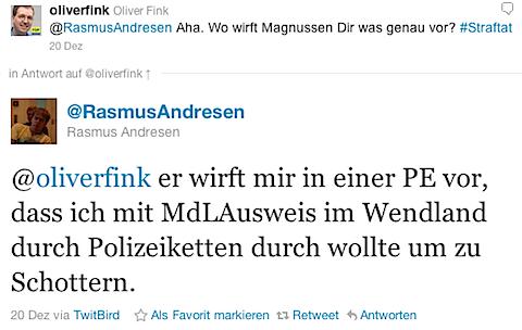 @RasmusAndresen: @oliverfink er wirft mir in einer PE vor, dass ich mit MdLAusweis im Wendland durch Polizeiketten durch wollte um zu Schottern.