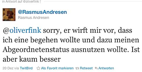 @RasmusAndresen: @oliverfink sorry, er wirft mir vor, dass ich eine begehen wollte und dazu meinen Abgeordnetenstatus ausnutzen wollte. Ist aber kaum besser